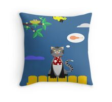 BREAKFAST THE CAT IN A SPRING MORNING Throw Pillow