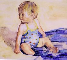 Girls at the beach, watercolor on yupo paper by Sandrine Pelissier