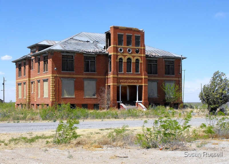 Abandoned school at toyah texas by susan russell redbubble - The house in the abandoned school ...