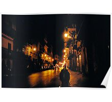 A Street view in Palermo at Night. Sicily, Italy Poster
