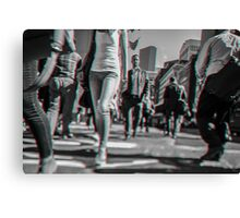 Crowd walking in Manhattan in 3D Canvas Print