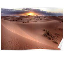 Sunset in the desert Poster