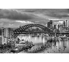 Monochrome - The City a Study In Black and White - The HDR Experience Photographic Print