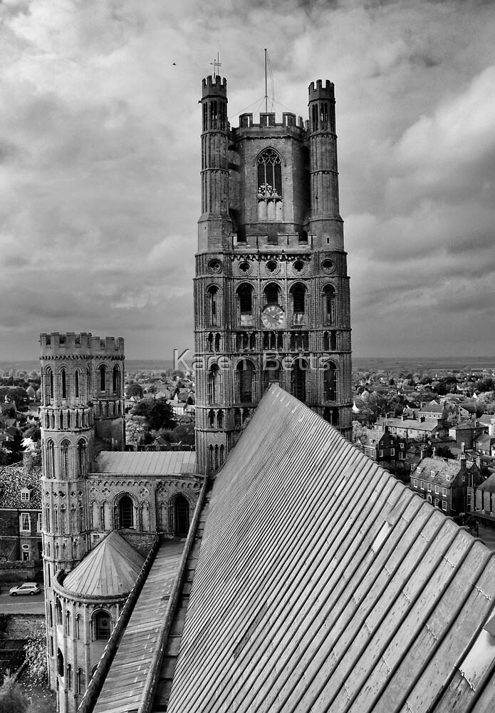 ELy  Cathedral Clock Tower in B&W by Karen  Betts