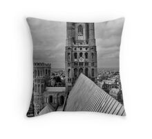 ELy  Cathedral Clock Tower in B&W Throw Pillow