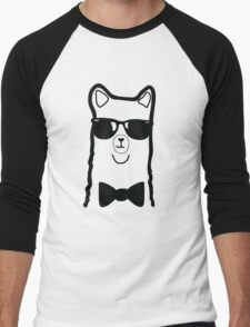 Hipster Alpaca – Face Close Up - Cute Kids Cartoon Character Men's Baseball ¾ T-Shirt