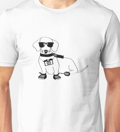 Hipster Dachshund - Cute Dog Cartoon Character - Sausage Dog - Weiner Dog Unisex T-Shirt