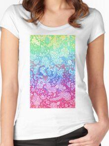 Fantasy Garden Rainbow Doodle Women's Fitted Scoop T-Shirt