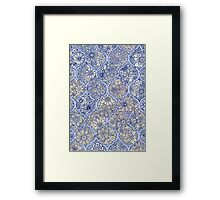 Moroccan Floral Lattice Arrangement - purple Framed Print