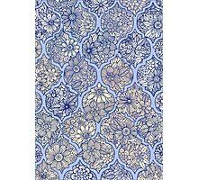 Moroccan Floral Lattice Arrangement - purple Photographic Print