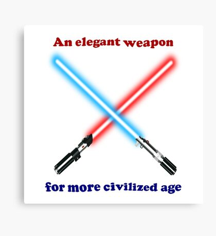 Lightsaber Civilized Canvas Print