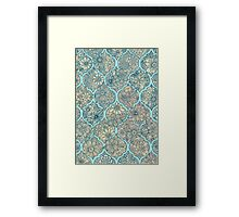 Moroccan Floral Lattice Arrangement - aqua / teal Framed Print