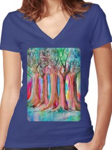 Dream Forest Women's Fitted V-Neck T-Shirt