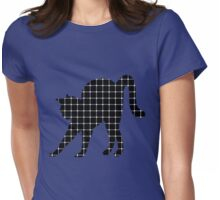Black Cat Optical Illusion Effect Womens Fitted T-Shirt