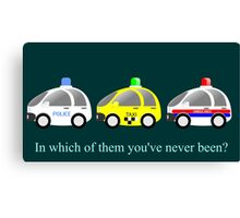 Cars funny police, taxi and rescue a funny question Canvas Print