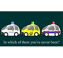 Cars funny police, taxi and rescue a funny question Photographic Print