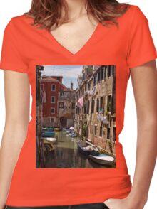 Back street in Venice (2) Women's Fitted V-Neck T-Shirt