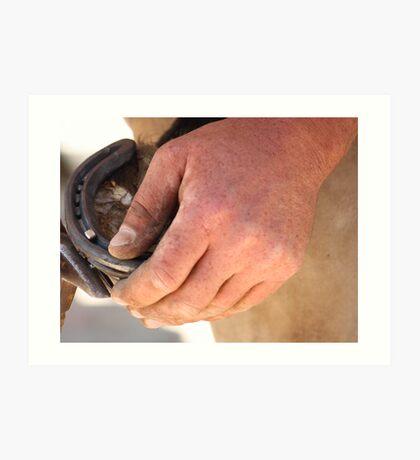 Hands of a farrier 1 Art Print