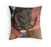 Hands of a farrier 4 Throw Pillow