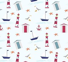 Vintage red blue nautical summer beach pattern by Maria Fernandes