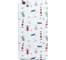 Vintage red blue nautical summer beach pattern iPhone Case/Skin