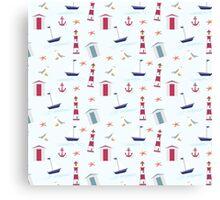 Vintage red blue nautical summer beach pattern Canvas Print
