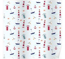 Vintage red blue nautical summer beach pattern Poster