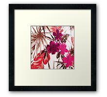 Abstract colorful pink red brown floral pattern Framed Print