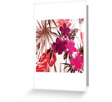 Abstract colorful pink red brown floral pattern Greeting Card