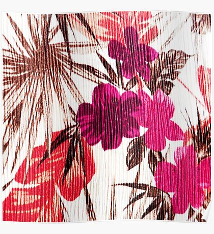 Abstract colorful pink red brown floral pattern Poster