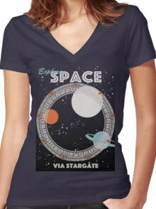 Explore Space Women's Fitted V-Neck T-Shirt