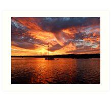 Sunset  at  American River Art Print