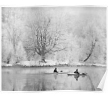 Canoes on river in winter Poster