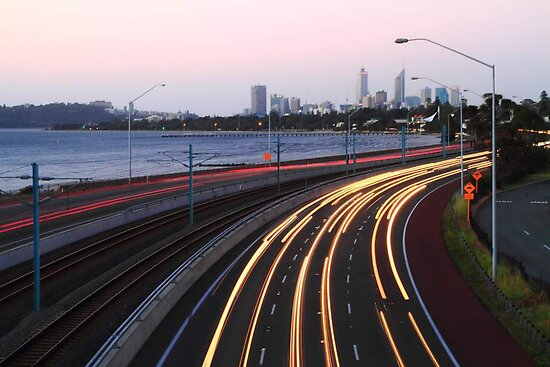 Kwinana Freeway Traffic At Dusk  by EOS20