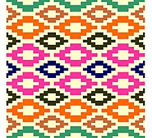 Aztec murky green pink pale yellow green to deep red brown navy blue Photographic Print