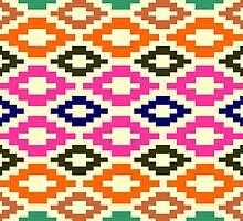 Aztec murky green pink pale yellow green to deep red brown navy blue by Desenatorul1976