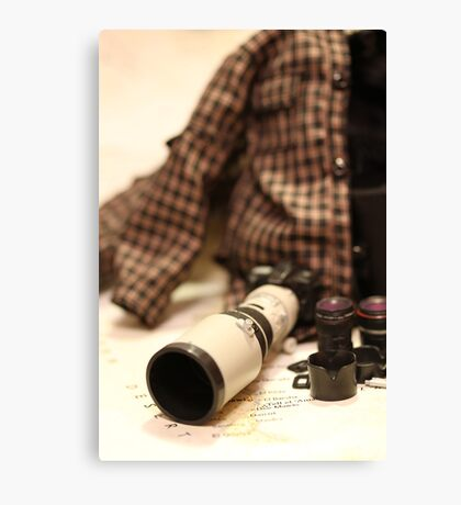 War Journalist Figurine - Photography gears I Canvas Print