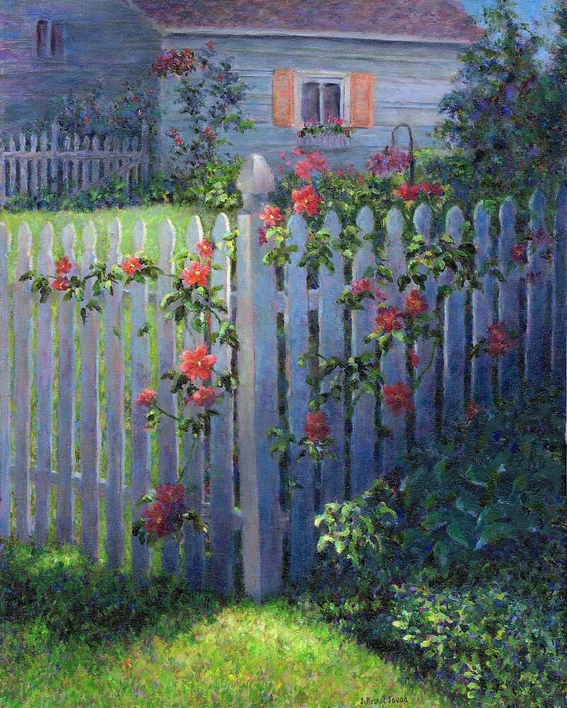 Clematis on a Picket Fence by Susan Savad