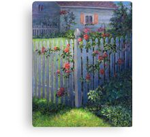 Clematis on a Picket Fence Canvas Print