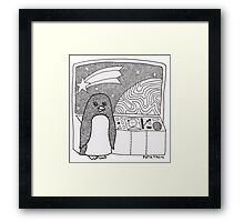 Space Penguin Framed Print