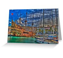 old port, galleon Greeting Card