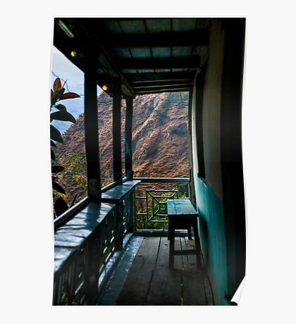Mountain view from a tea house balcony Poster