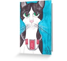 Tuxedo Cat, big eyes Greeting Card
