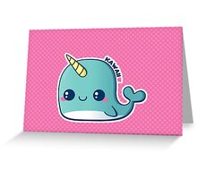 Kawaii Blue Narwhal Greeting Card
