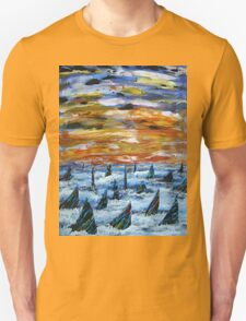 Rainbow Finned Sharks at Sunset T-Shirt