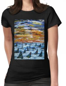 Rainbow Finned Sharks at Sunset Womens Fitted T-Shirt