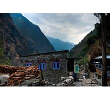 Stone house and mountains Photographic Print
