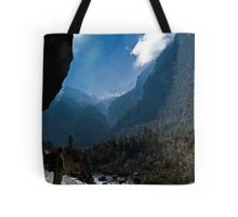 A girl looking out on to mountains Tote Bag