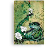 Green Iguana- Mixed Media Canvas Print