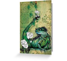 Green Iguana- Mixed Media Greeting Card